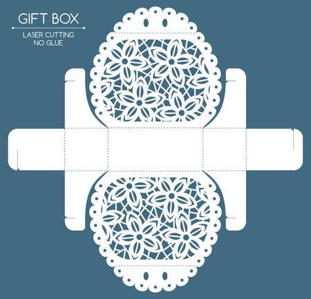 Openwork gift box with a lace ornament. Laser cutting Çizim