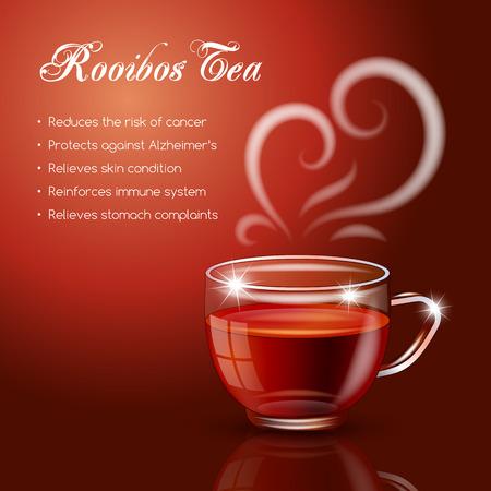 rooibos: Tea properties and health benefits. Vector Illustration