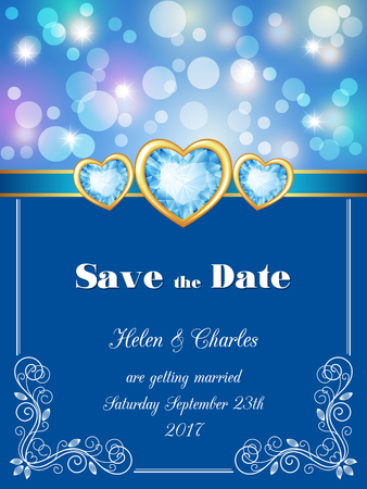 engagement party: Save the Date card, wedding invitation with decorative design elements and bokeh lights. Vector illustration