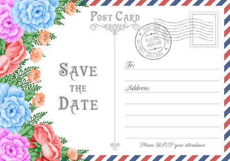 Vintage postcard wedding invitation template with flowers. Save the Date card. Vector Illustration Vector Illustration