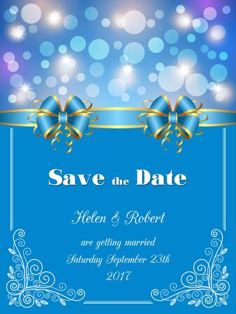 Save the Date card, wedding invitation with decorative design elements and bokeh lights. Vector illustration