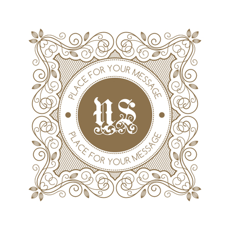royal: Monogram template with decorative calligraphic ornament frame. Luxury label in retro style. Vector Illustration