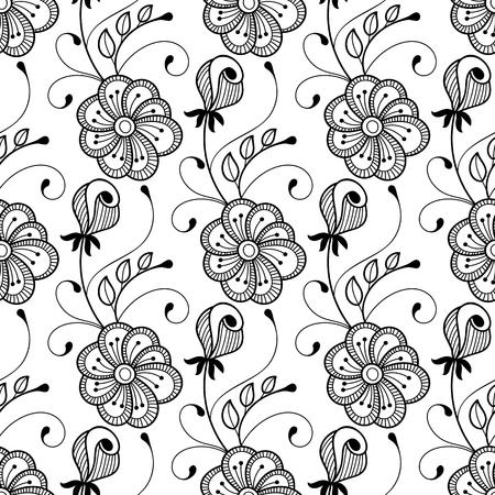 grasses: Seamless monochrome floral pattern. Hand drawn vector illustration Illustration