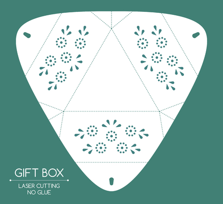 Openwork gift box with a lace ornament. Laser cutting Illustration