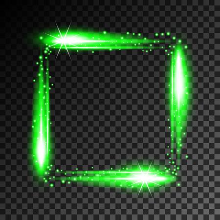 Abstract neon frame on transparent background. Vector Illustration Illusztráció