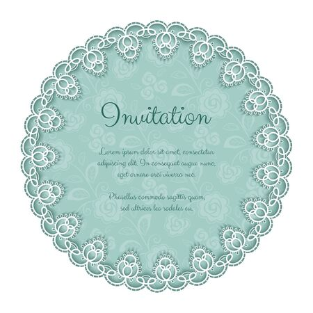 lace pattern: Elegant invitation or greeting card template with lace round frame. Vector Illustration