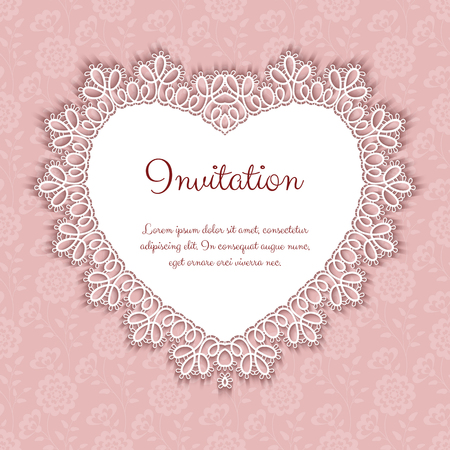 lace pattern: Elegant invitation or greeting card template with lace heart shaped frame. Vector Illustration