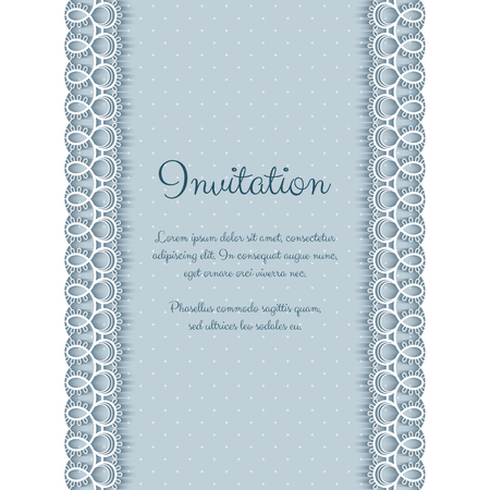 lace pattern: Elegant invitation or greeting card template with lace borders. Vector Illustration
