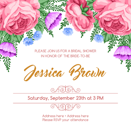 dinner date: Bridal shower invitation template with flowers. Vector Illustration in retro style Illustration