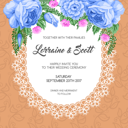 dinner date: Wedding invitation template with flowers. Vector Illustration in retro style