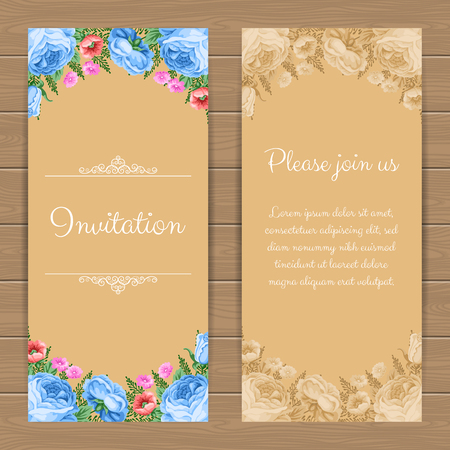 dinner date: Floral invitation or greeting card template. Vector Illustration in retro style