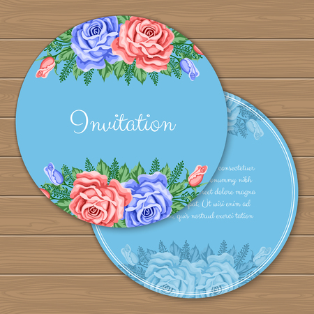 Floral round invitation or greeting card template. Vector Illustration in retro style Illustration