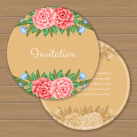Floral round invitation or greeting card template. Vector Illustration in retro style 向量圖像