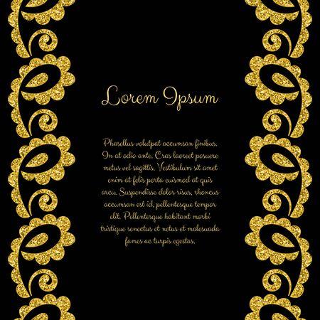 Stylized ornament made of golden shiny confetti. Vector illustration
