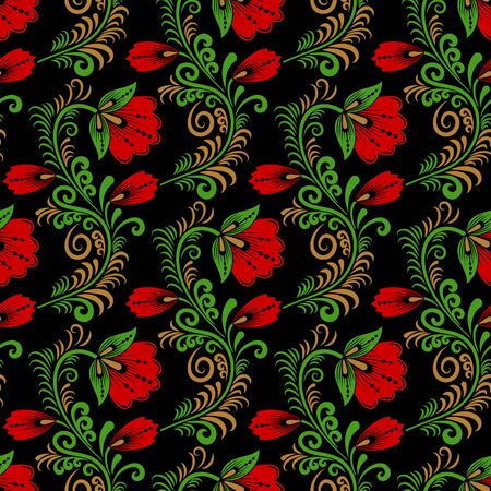 Floral seamless pattern in traditional russian style. Khokhloma painting. Vector Illustration Illustration