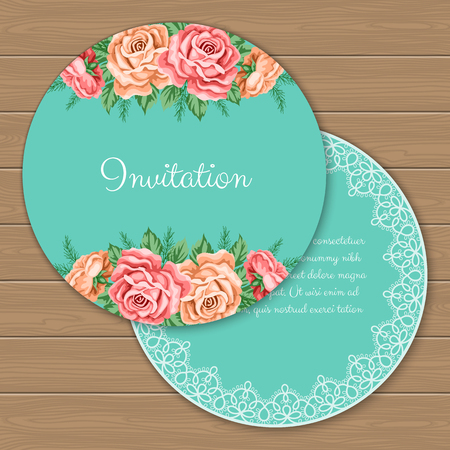 dinner date: Floral round invitation or greeting card template. Vector Illustration in retro style Illustration