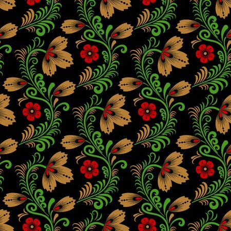 pattern: Floral seamless pattern in traditional russian style. Khokhloma painting. Vector Illustration Illustration