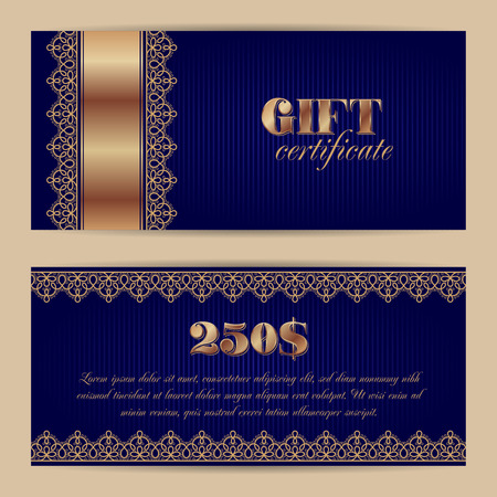 financial reward: Gift certificate or voucher template with lace border. Vector illustration