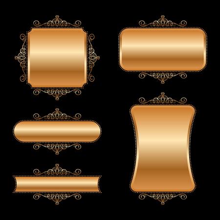 Set of golden vintage frames. Vector Illustration Illustration