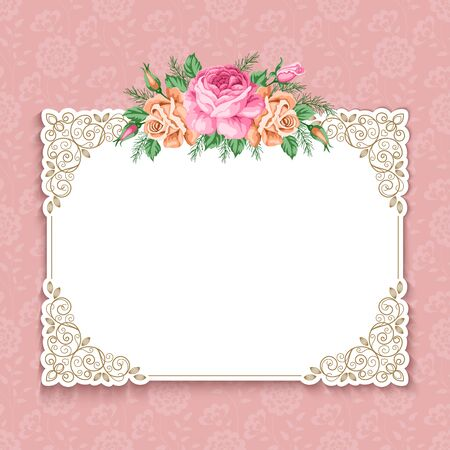 Invitation or greeting card template with roses in retro style. Vector Illustration Reklamní fotografie - 80436084