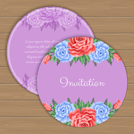 engagement party: Floral round invitation or greeting card template. Vector Illustration in retro style Illustration