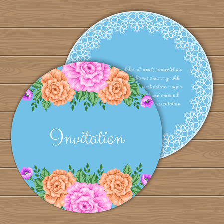 dinner party: Floral round invitation or greeting card template. Vector Illustration in retro style Illustration
