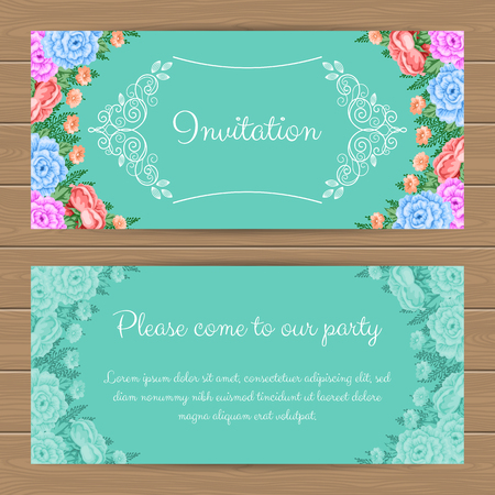 gentle: Floral invitation or greeting card template. Vector Illustration in retro style
