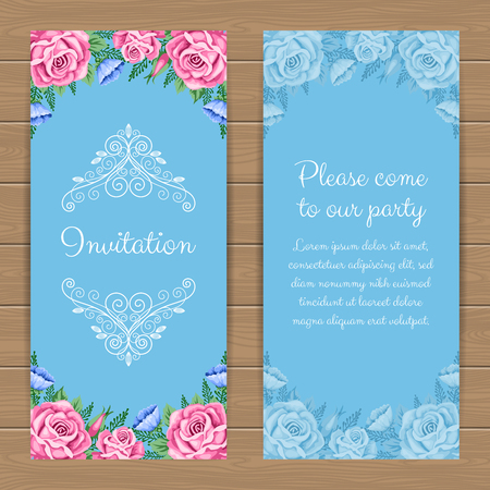 dinner party: Floral invitation or greeting card template Illustration in retro style