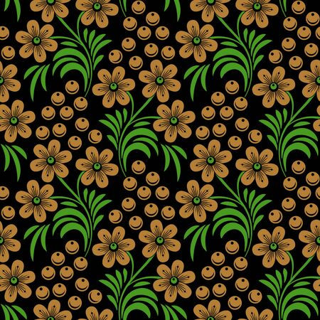 handicrafts: Floral seamless pattern in traditional russian style. Khokhloma painting. Vector Illustration Illustration