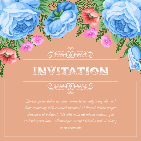 dinner date: Bridal shower or wedding invitation template with flowers. Vector Illustration in retro style