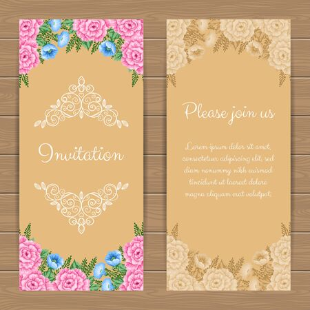 dinner party: Floral invitation or greeting card template. Vector Illustration in retro style