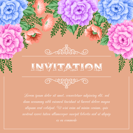 dinner party: Bridal shower or wedding invitation template with flowers. Vector Illustration in retro style