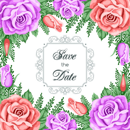 gentle: Save the Date card template with flowers. Vector Illustration in retro style