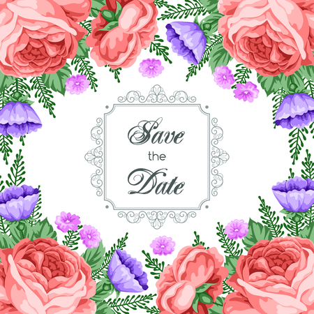 dinner party: Save the Date card template with flowers. Vector Illustration in retro style