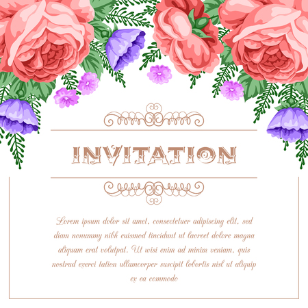 rose: Bridal shower or wedding invitation template with flowers. Vector Illustration in retro style