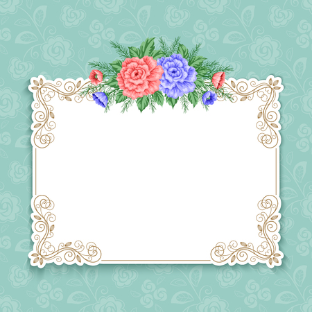 gentle: Invitation or greeting card template with roses in retro style. Vector Illustration