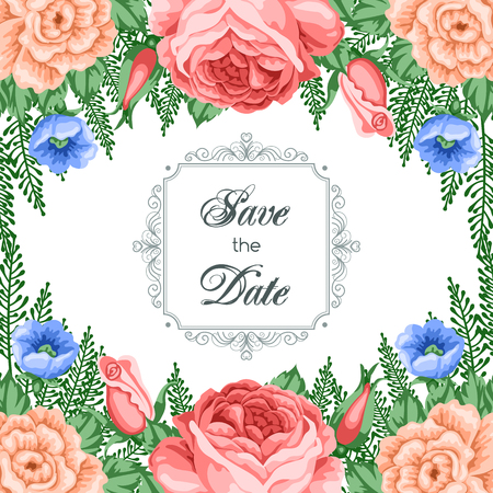 dinner date: Save the Date card template with flowers. Vector Illustration in retro style