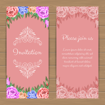 rose: Floral invitation or greeting card template. Vector Illustration in retro style