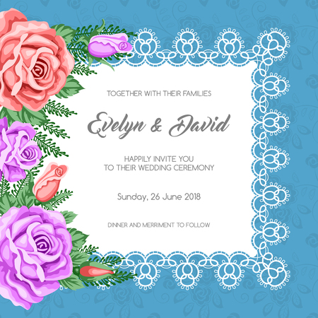 rose: Wedding invitation template with flowers. Vector Illustration in retro style