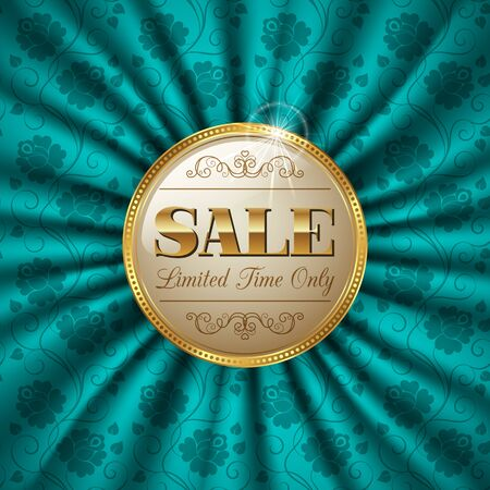 advertising material: Luxury retro golden label on silk background. Vector Illustration