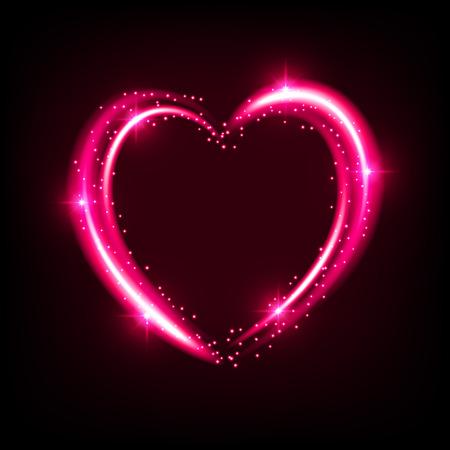 Shiny heart-shaped frame on black background. Holiday vector illustration