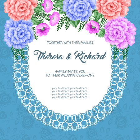 dinner party: Wedding invitation template with flowers. Vector Illustration in retro style