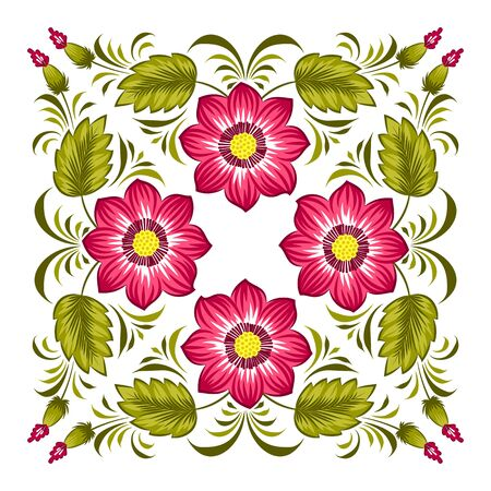 ukrainian traditional: Floral background in ukrainian national style. Petrykivka painting. Vector Illustration Illustration