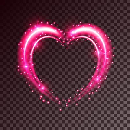 Shiny heart-shaped frame on transparent background. Holiday vector illustration Illustration