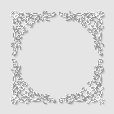 Abstract decorative 3d floral frame. Vector Illustration Ilustração