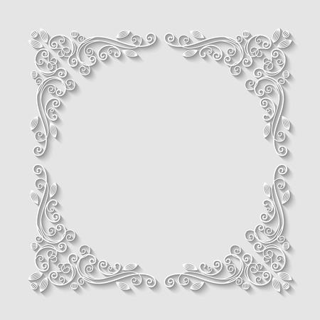 Abstract decorative 3d floral frame. Vector Illustration Illustration