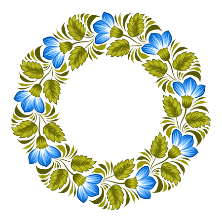 Floral background in ukrainian national style. Petrykivka painting. Vector Illustration Illustration
