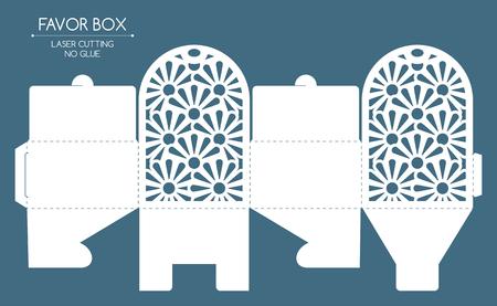 레이스 장식으로 Openwork 호의 상자입니다. 레이저 절단