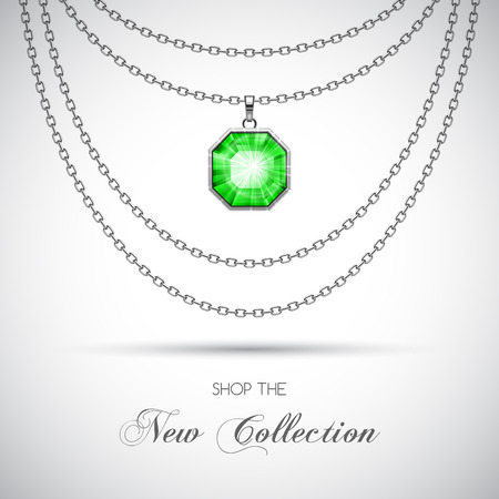 argent: Silver chain necklace with diamond pendant. Vector Illustration Illustration