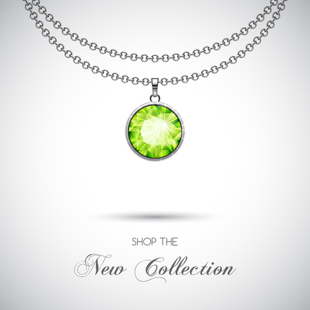 Silver chain necklace with diamond pendant. Vector Illustration Illustration